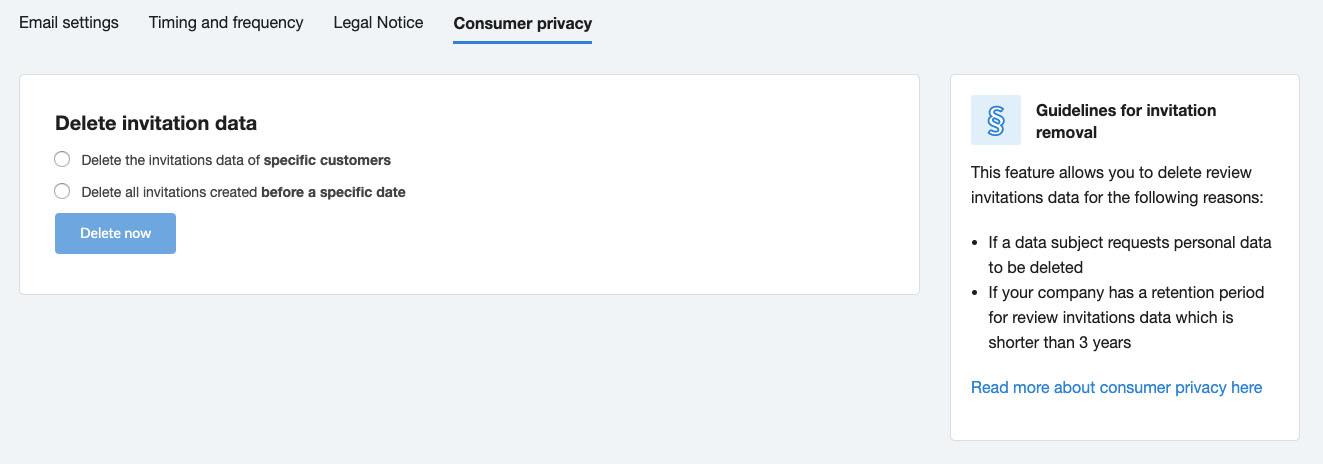 Trustpilot Business delete invitation data form