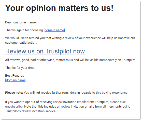 Send Invitation Reminders Trustpilot Support Center
