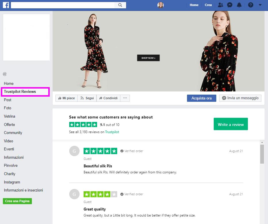 0a019b1a83b2 Vis anmeldelser på Facebook med Trustpilots Facebook-fane ...
