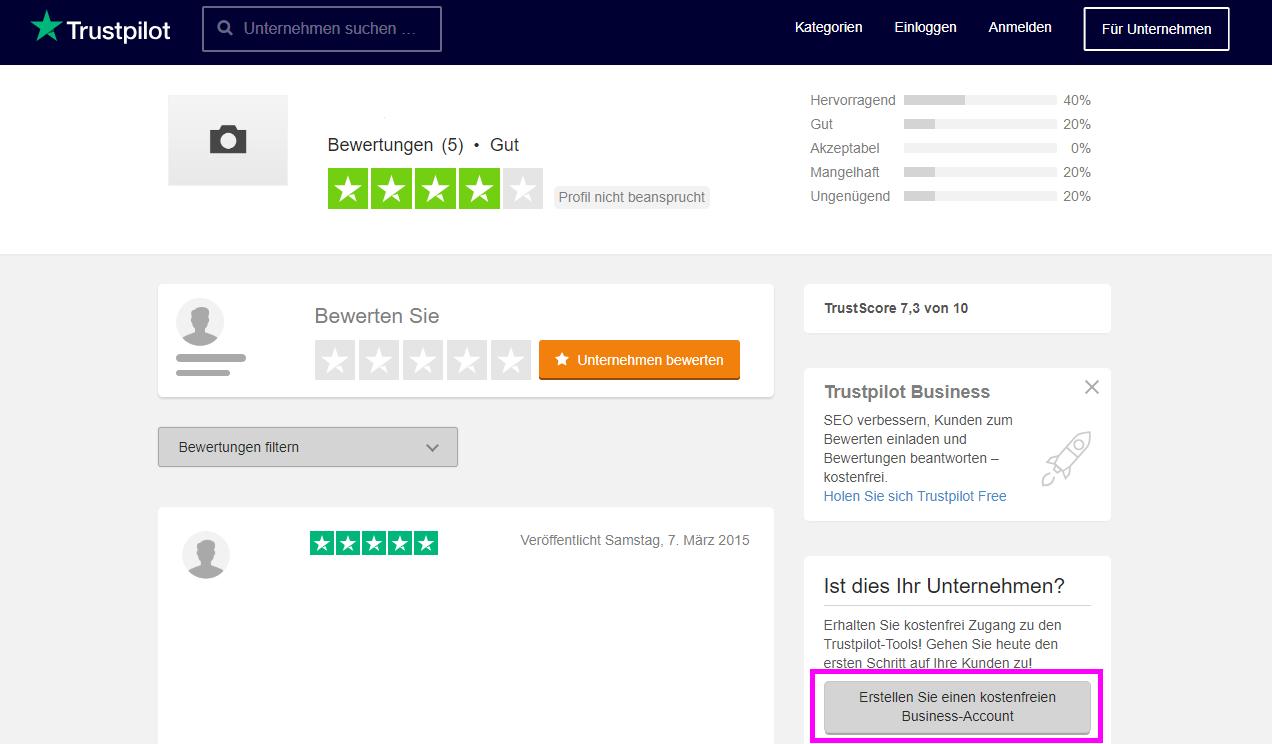 So beanspruchen Sie Ihr Unternehmensprofil für sich – Trustpilot ...