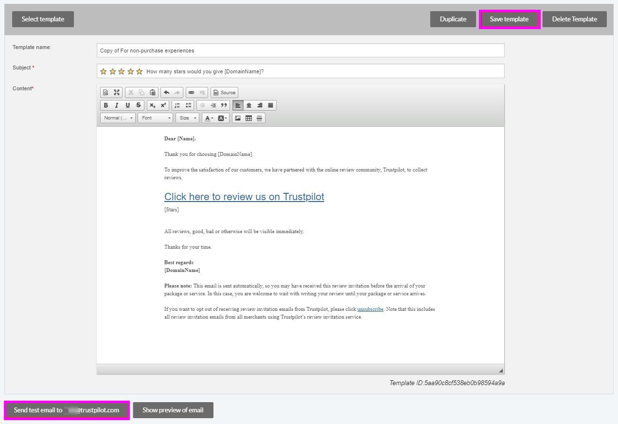 Edit The Review Invitation Template Trustpilot Support Center