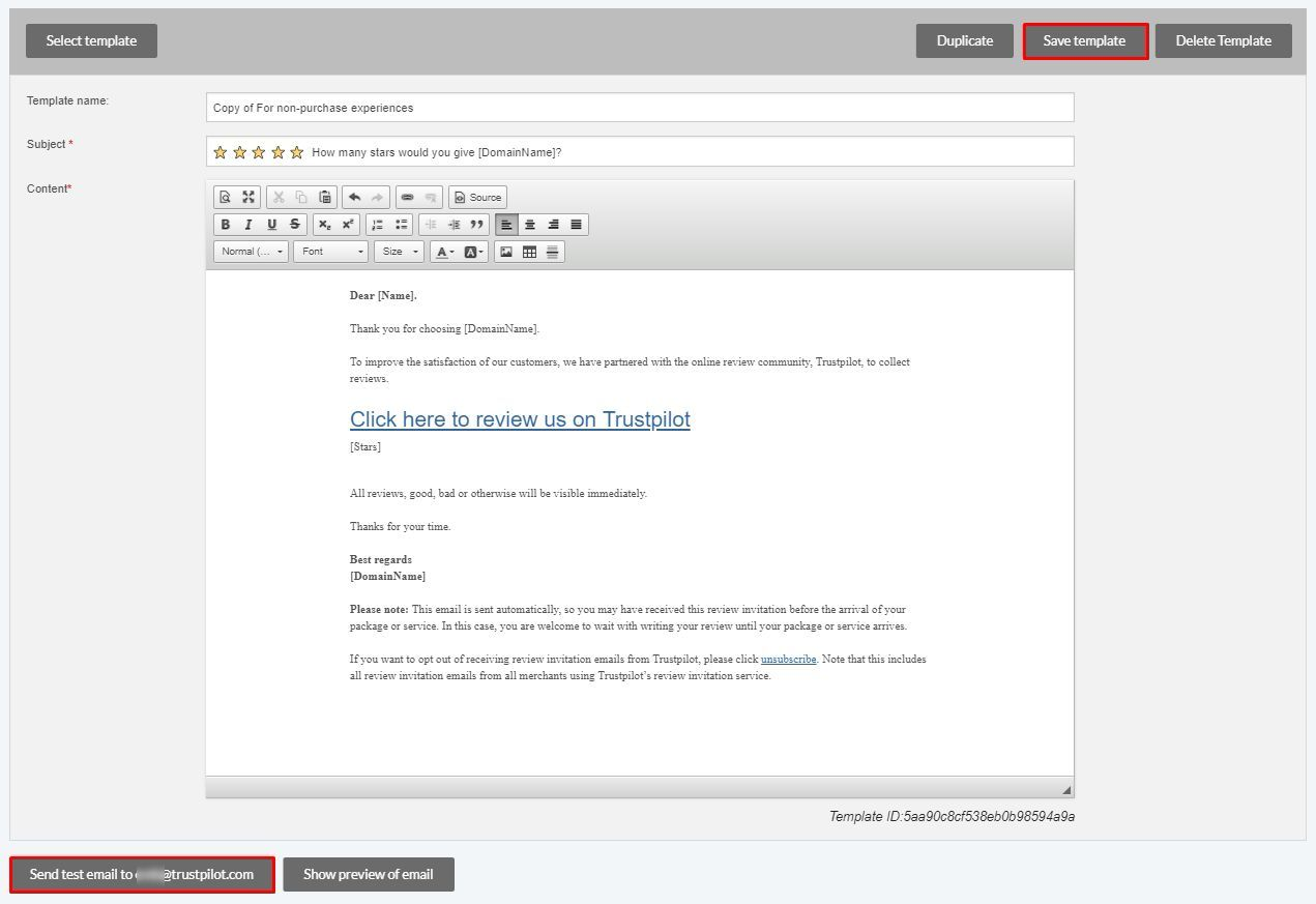create and customize your review invitation email trustpilot