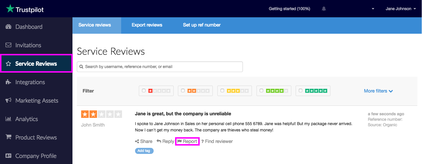 How to report reviews from your business account ...