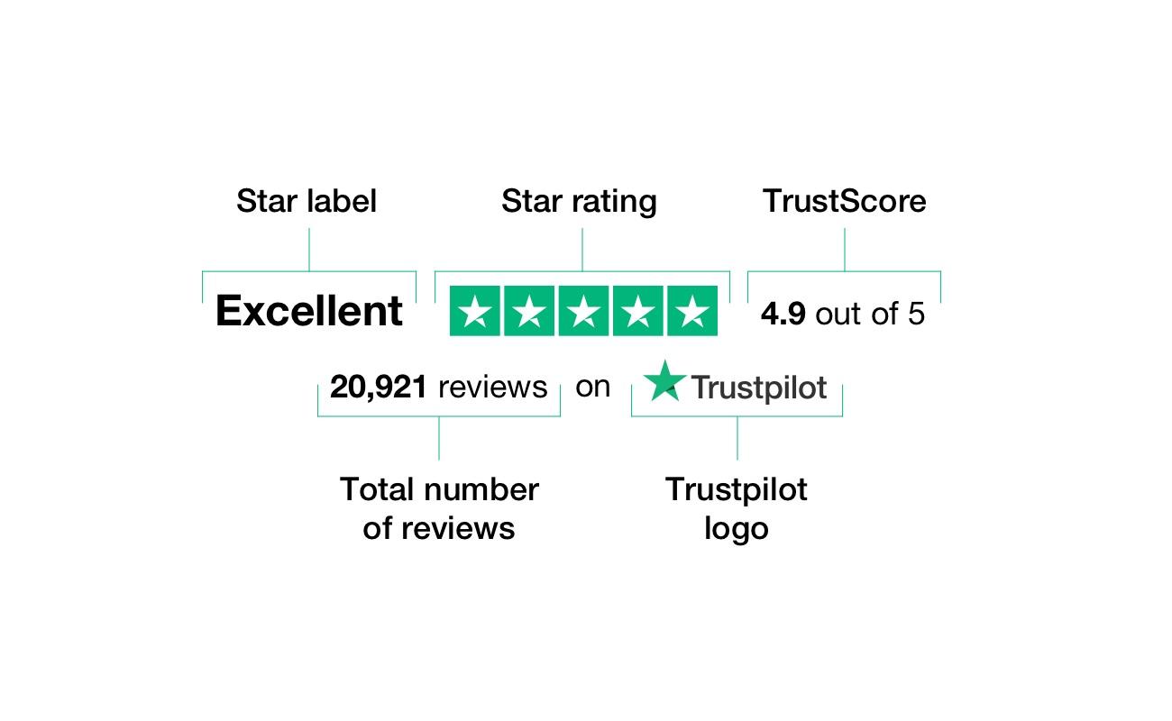 Esempio di punteggio su Trustpilot col significato in dettaglio di ciascun termine