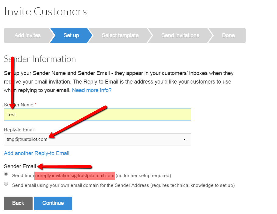 sender information trustpilot support center