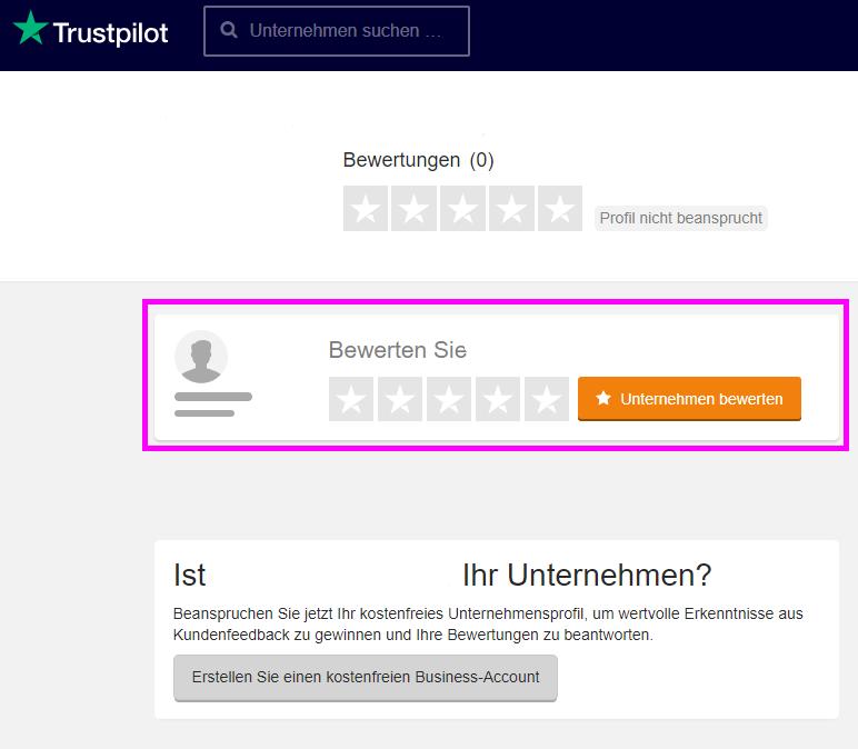 Wie kann ich ein Unternehmen bewerten, das noch kein Trustpilot ...